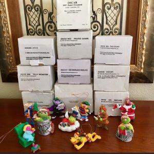 Vtg 9pc Disney Grolier Sesame Street Ornaments NOS